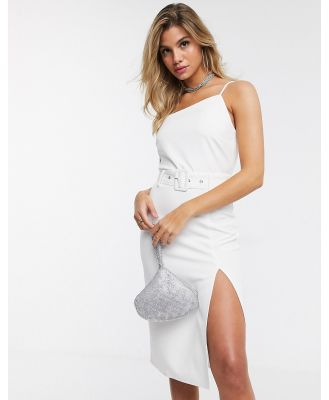 4th + Reckless midi dress with side split in white