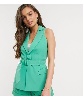 4th + Reckless Petite exclusive sleeveless blazer with belt in green