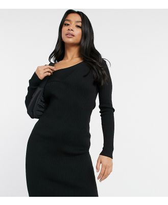 4th & Reckless Petite knitted cross front jumper dress in black