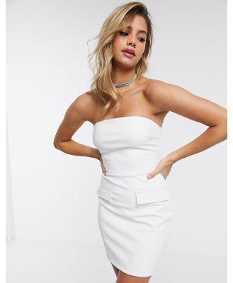 4th + Reckless pu mini bandeau dress in white