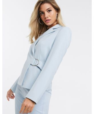 4th + Reckless suit blazer with side buckle in pale blue