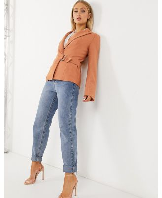4th + Reckless suit blazer with side buckle in soft coral-Orange