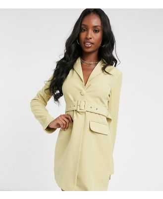 4th & Reckless Tall blazer dress with belt in pistachio-Green