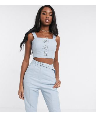 4th + Reckless Tall exclusive crop top with buckle detail in pale blue
