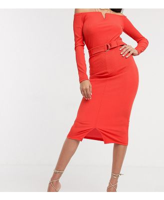 4th & Reckless Tall Exclusive midi skirt with buckle detail in red