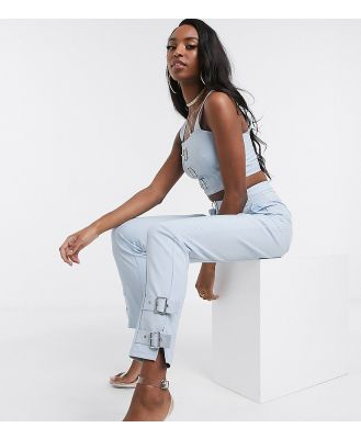 4th + Reckless Tall exclusive tailored pants with buckle detail in pale blue