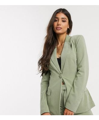 4th + Reckless Tall exclusive tie front blazer in sage-Grey
