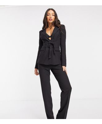 4th & Reckless Tall slim fit buckle front blazer in black