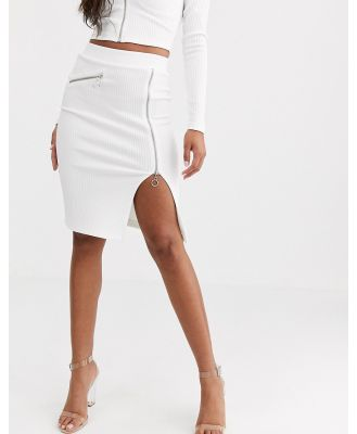 4th + Reckless zip through pencil midi skirt in white