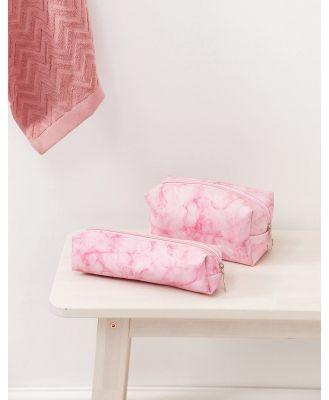 SVNX 2 pack makeup bags in pink marble-Multi