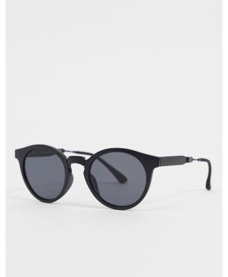 A.Kjaerbede round sunglasses in black with metal detailing