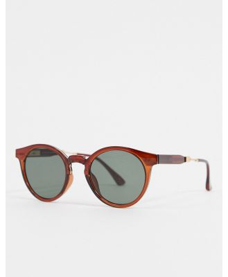 A.Kjaerbede round sunglasses in brown with metal detailing