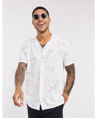 Abercrombie & Fitch love wins rayon short sleeve shirt in white