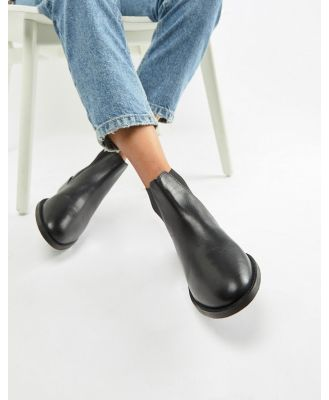 Accessorize flat leather chelsea boot - Black