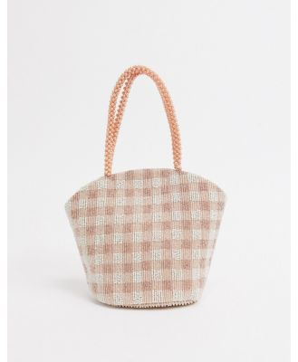 Accessorize gingham beaded grab bag in pink