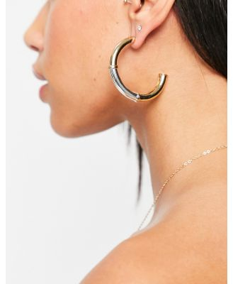 Accessorize two-tone hoop earrings in mixed metals-Gold