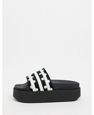 adidas Originals adilette platform sliders in black