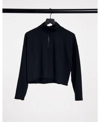 Aerie cropped quarter zip sweat in black