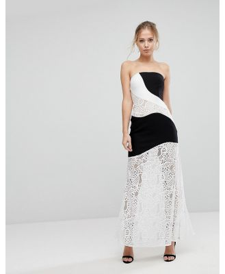Aijek Maxi Dress With Monochrome And Lace Detail - Multi