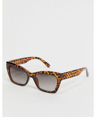 AJ Morgan slim square sunglasses in tort-Brown