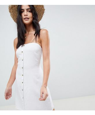 Akasa Exclusive bandeau button front beach dress-White