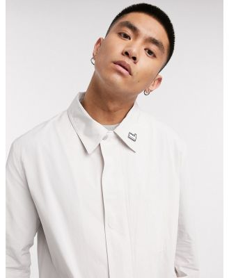 Albam Utility mac with patch pocket and badge detail in cream-White