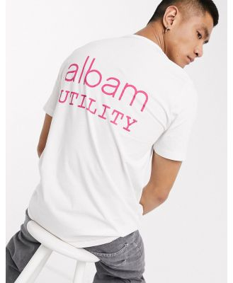 Albam Utility t-shirt with front and back graphic in white