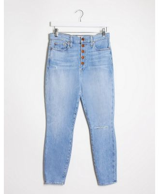 Alice & Olivia Jeans high rise skinny jeans with exposed buttons in blue