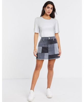 Alice & Olivia Jeans patchwork mini skirt in blue
