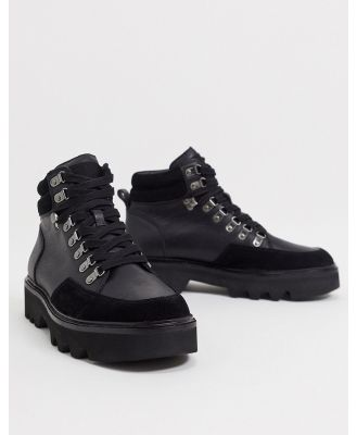 All Saints lodge hiker boots in black