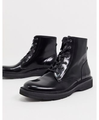 All Saints nova high shine leather lace-up boots in black