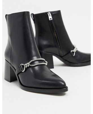 All Saints rhye leather chain detail heeled boots in black