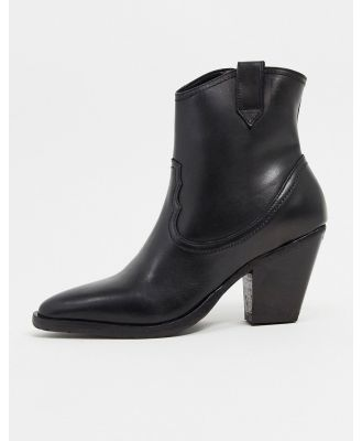 All Saints rolene leather heeled western boots in black