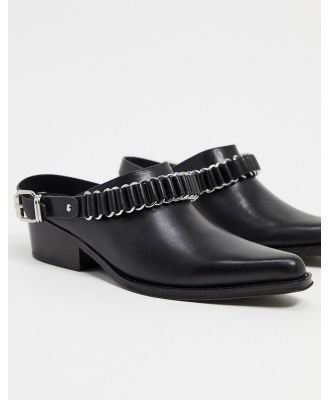 All Saints ryder leather western mules in black