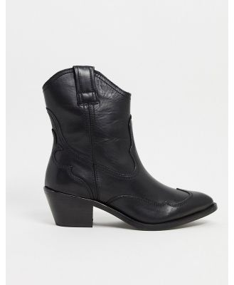 All Saints shira leather western boots in black