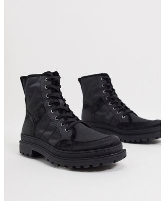 All Saints traction chunky military boots in black