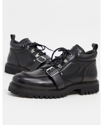 All Saints yarrow leather chunky buckle detail boots in black