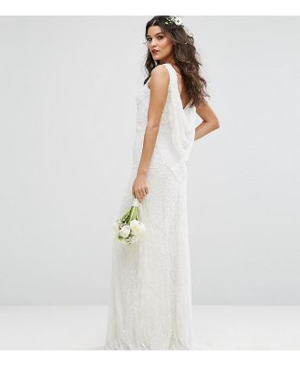 Amelia Rose Bridal Cowl Back Maxi Dress In All Over Embellishment - White