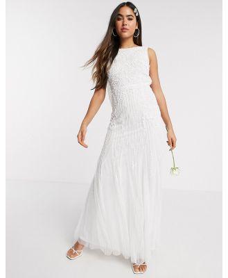 Amelia Rose Bridal embellished cowl-back maxi in ivory-White
