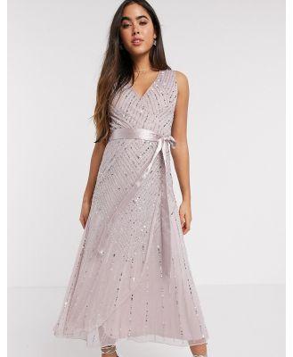 Amelia Rose Bridesmaid embellished midi dress with wrap detail in blush-Pink