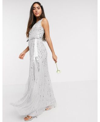 Amelia Rose Bridesmaid embellished wrap maxi dress in silver