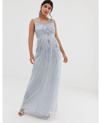 Amelia Rose embellished sleeveless maxi dress in soft blue