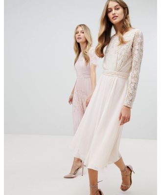 Amelia Rose Embroidered Long Sleeve Midi Dress With Plunge Back Detail - Pink