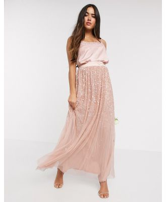 Amelia Rose ombre sequin maxi tulle skirt in rose-Gold
