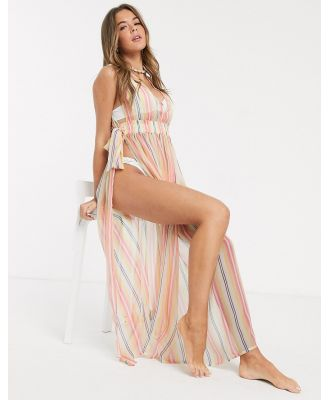 America & Beyond Stripe Split Maxi Dress-Multi
