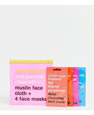 Anatomicals ASOS Exclusive And You Can Clear Off. Muslin Face Cloth and 4 Face Masks-No Colour