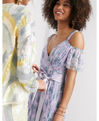 Anaya With Love tulle cold shoulder frill maxi dress in lilac floral print-Purple