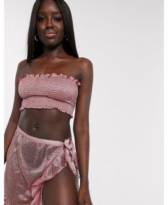 Anmol metallic detail co ord with wrap around skirt and shirred bandeau top