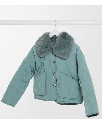 Annorlunda quilted jacket with faux-fur collar-Green