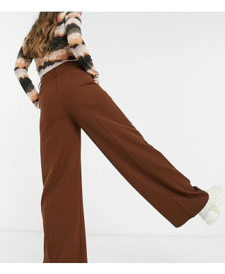 Annorlunda wide leg trousers in chocolate coord-Brown